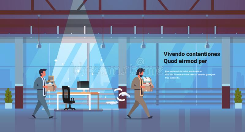 Business man carrying box with things new workplace dismissed frustrated businessman go away dismissal and new job. Concept office interior horizontal copy vector illustration