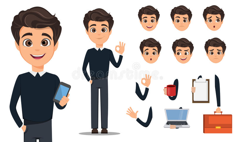 Business man cartoon character creation set vector illustration