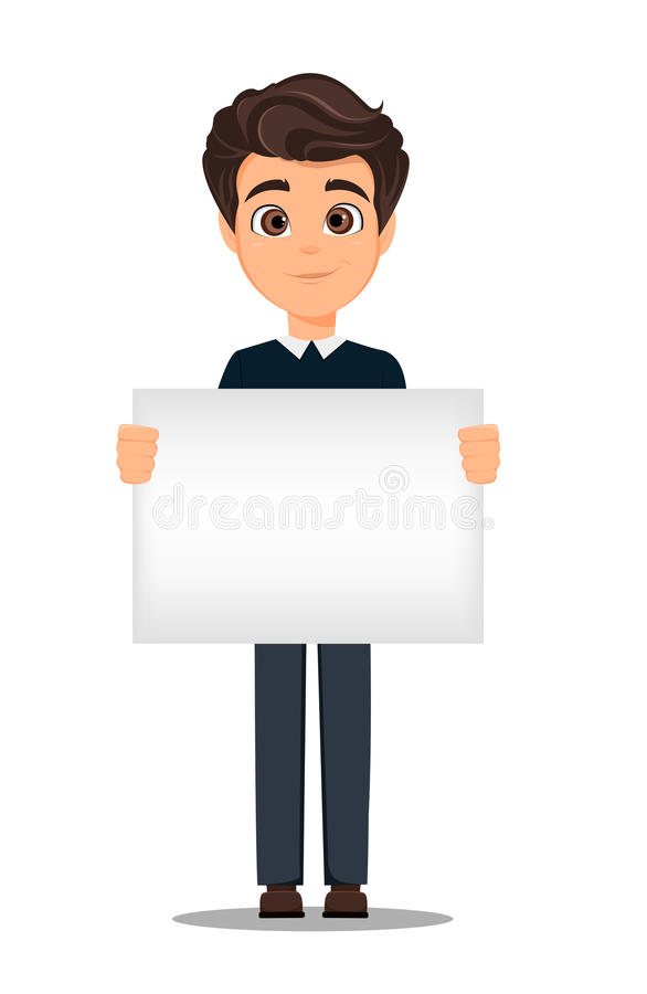 Business man cartoon character. Young handsome smiling businessman in smart casual clothes holding blank banner. Stock vector stock illustration