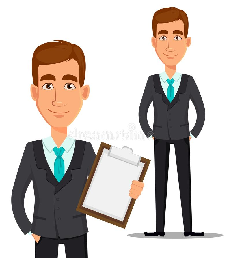 Young handsome smiling businessman in business suit. Business man cartoon character. Young handsome smiling businessman in business suit holding blank clipboard royalty free illustration