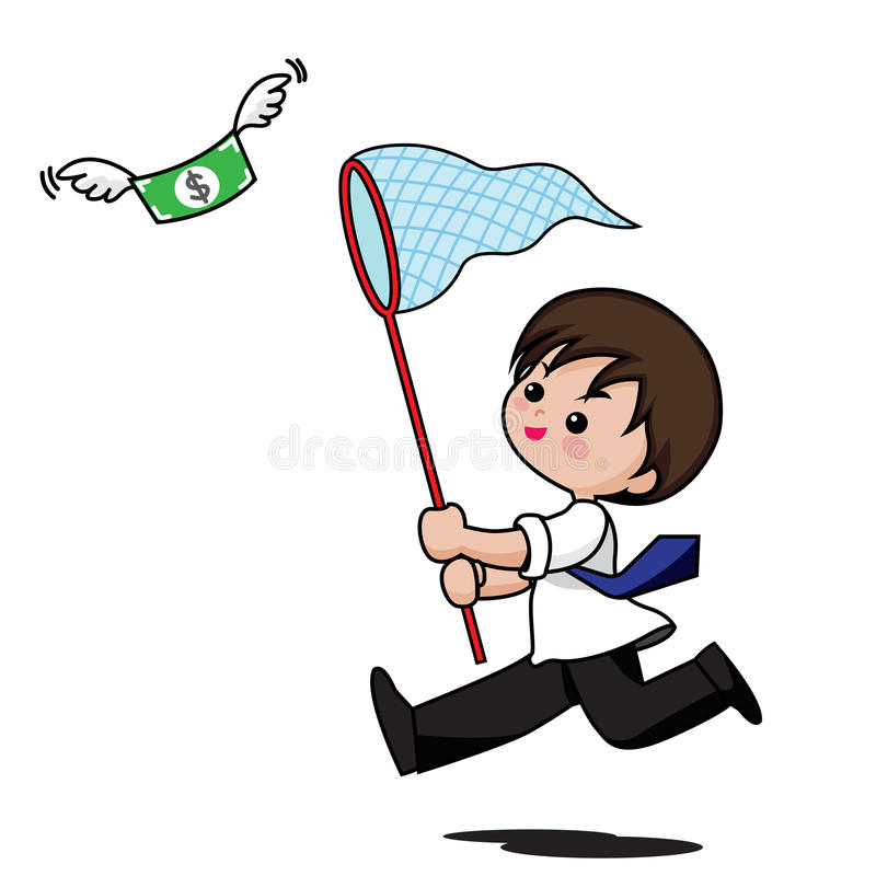 The business man cartoon running to catch money isolated on whit. E background stock illustration