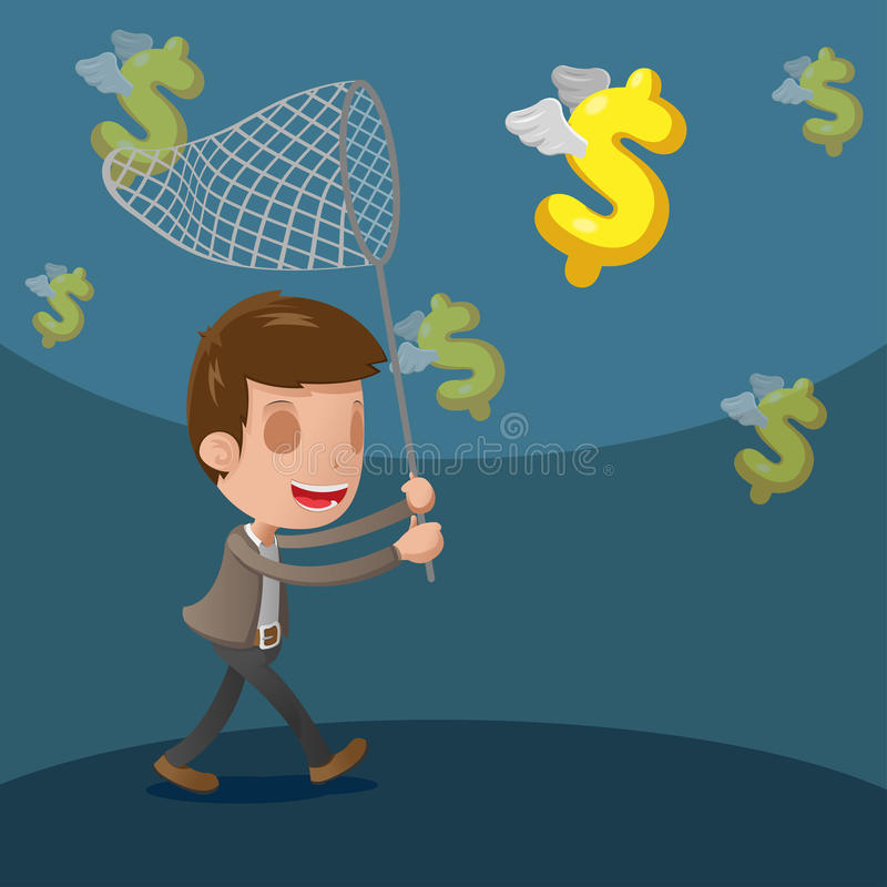 Business Man Catch Dollar Currency. Vector stock illustration