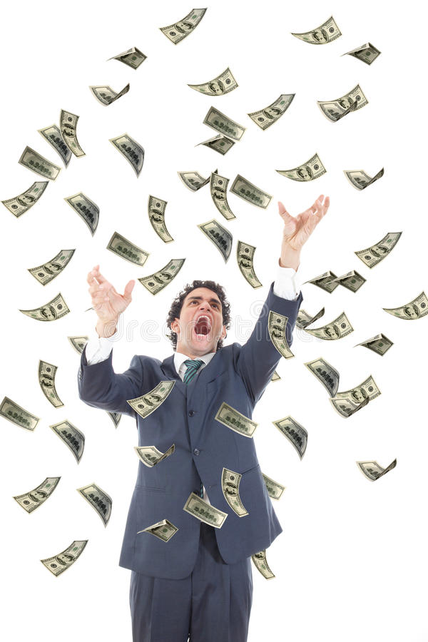 Business man catching falling dollars banknotes and screaming stock photography