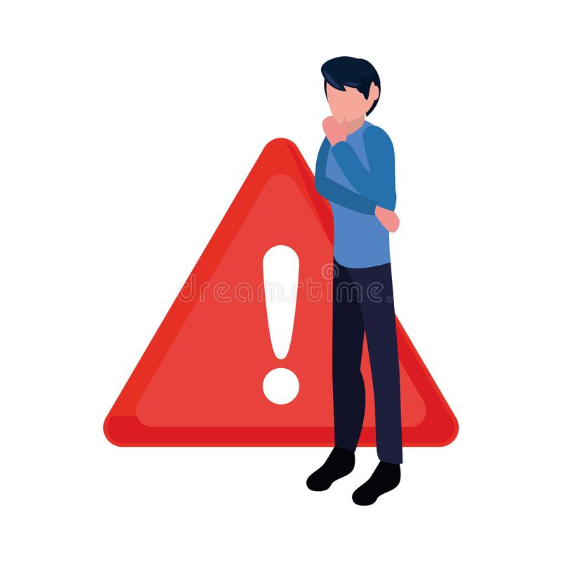 Business man and caution sign stock illustration