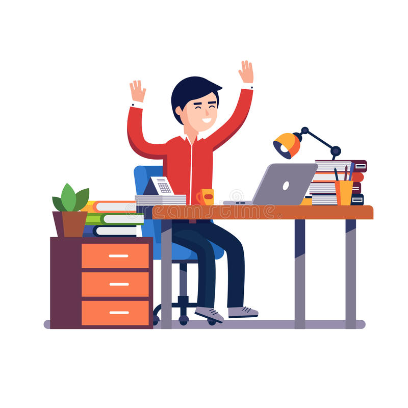 Business man celebrating working achievement. Business man sitting at the office desk with a laptop raises up hands in winner gesture celebrating working stock illustration