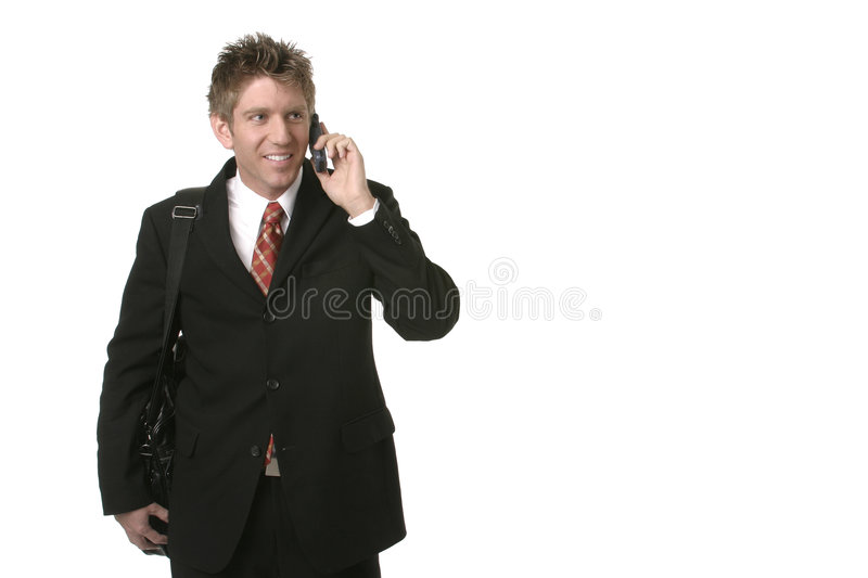 Business Man on Cell Phone stock photography