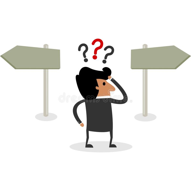 Business Man Character Has to Take a Difficult Decision vector illustration