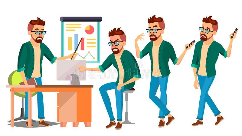 Business Man Character Vector. Hipster Working Male. Environment Process. Start Up. Casual Clothes. Worker. Full Length royalty free illustration