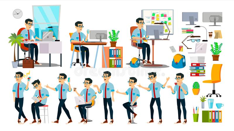 Business Man Character Vector. Working Asian People Set. Office, Creative Studio. Asiatic. Business Situation. Software royalty free illustration