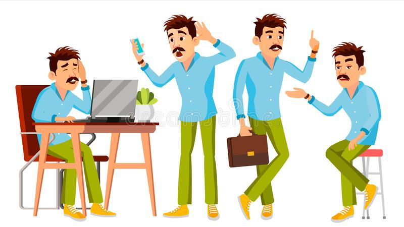 Business Man Character Vector. Working Man. Environment Process Creative Studio. Male Worker. Full Length. Designer stock illustration