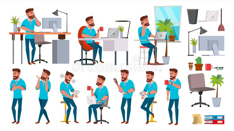 Business Man Character Vector. Working People Set. Office, Creative Studio. Bearded. Full Length. Programmer, Designer stock images