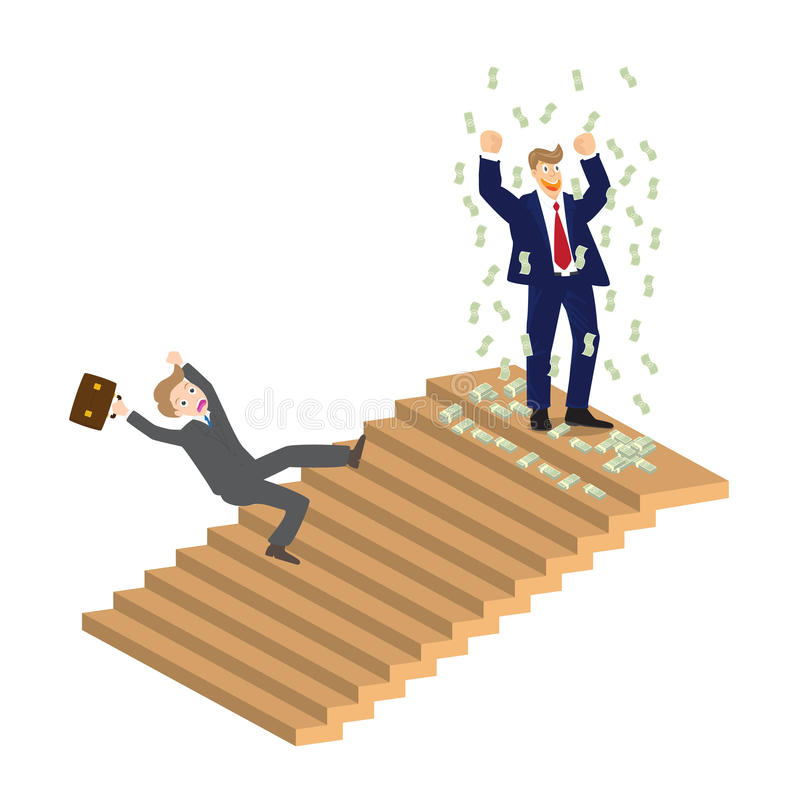 Business man cheer on top of stairs and someone falling down, , illustration.  stock illustration