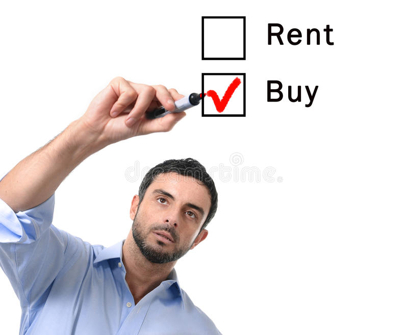 Business man choosing rent or buy option at formular real estate concept royalty free stock photos