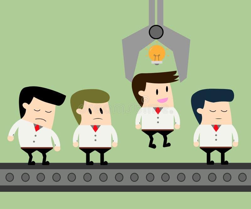 Business man is chosen by gripper vector illustration