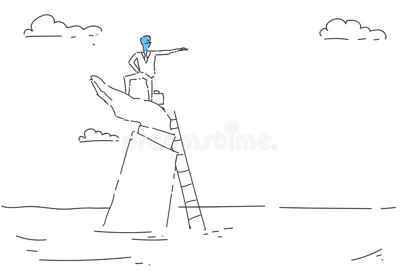 Business Man Climb Ladder Career Opportunity Growth Concept Finance Success. Vector Illustration vector illustration