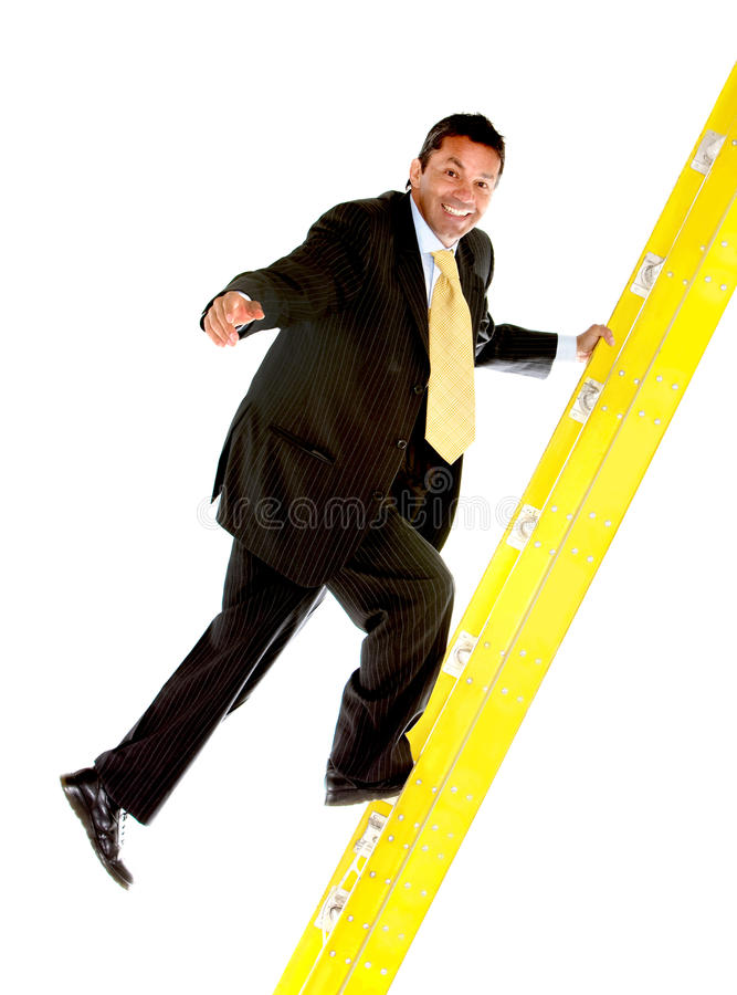 Download Business Man Climbing A Ladder Stock Image - Image of background, formalwear: 12530433