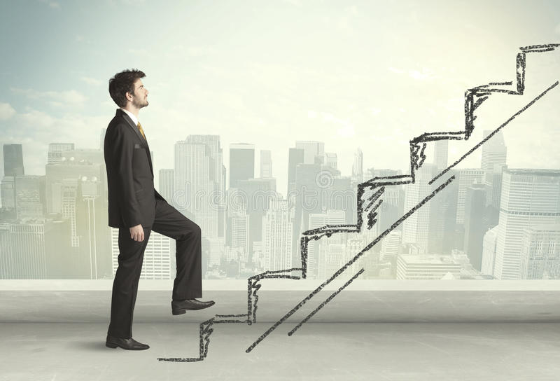 Business man climbing up on hand drawn staircase concept. On city background stock photo