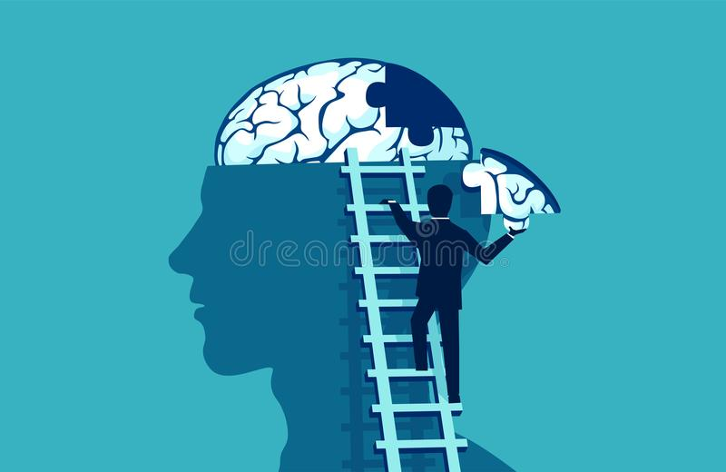 Business man climbing up the stairs reaching human head to add piece of brain puzzle. royalty free illustration