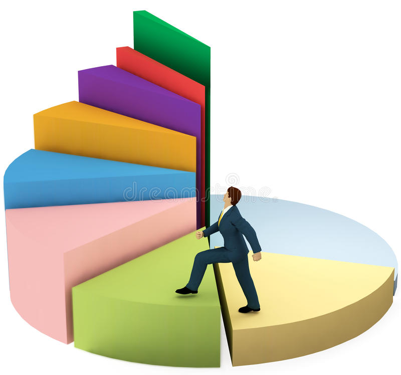 Business man climbs up growth pie chart stairs. A business man climbs up a pie chart as spiral stairs of growth success royalty free illustration