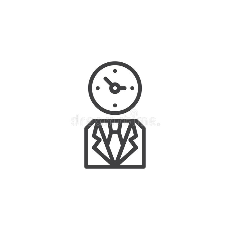 Business man with clock head outline icon. Linear style sign for mobile concept and web design. Employer simple line vector icon. Symbol, logo illustration vector illustration