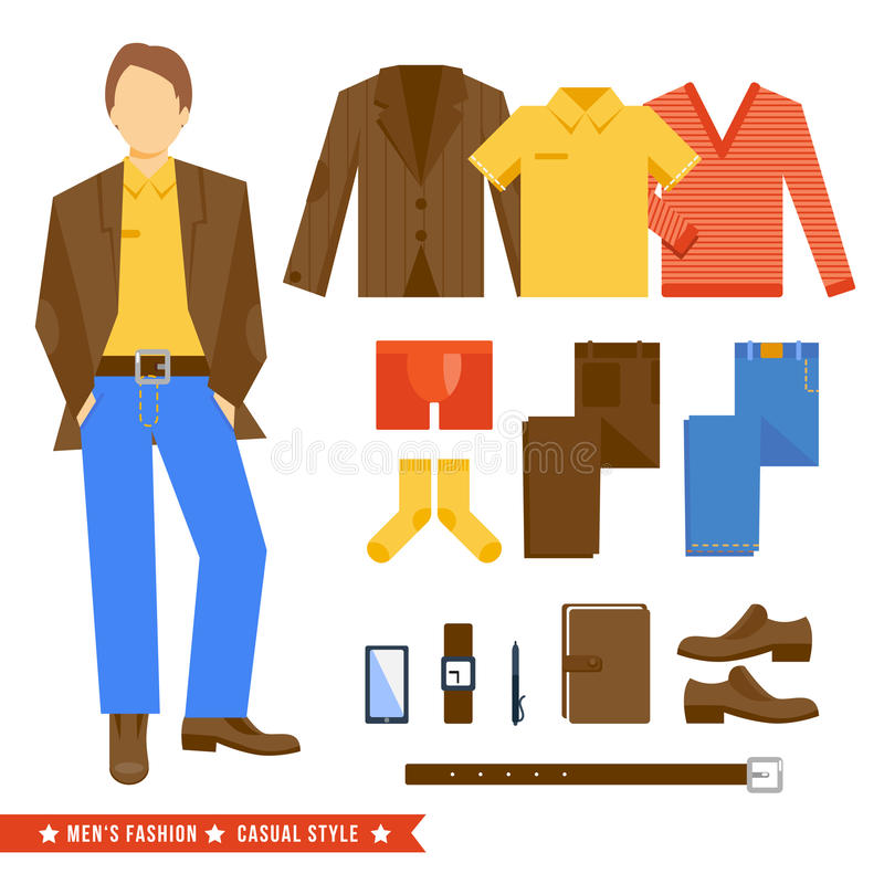 Business Man Clothes Icons stock illustration