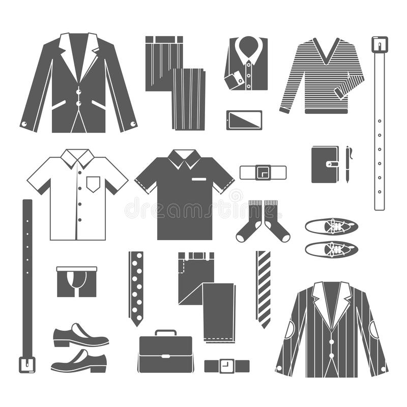 Business Man Clothes Icons Set royalty free illustration