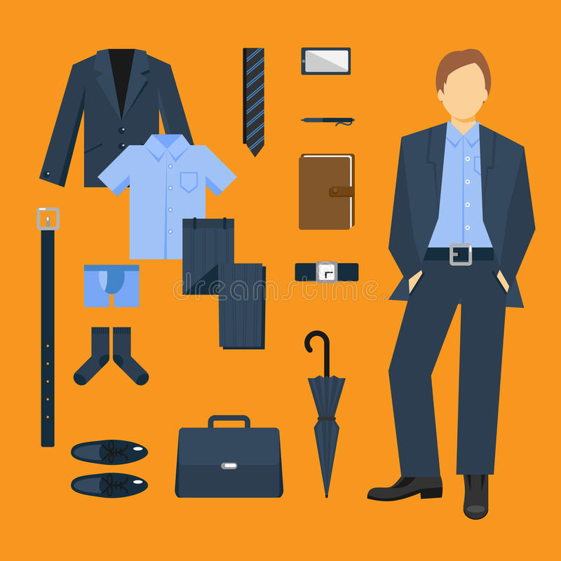 Business Man Clothes Set royalty free illustration