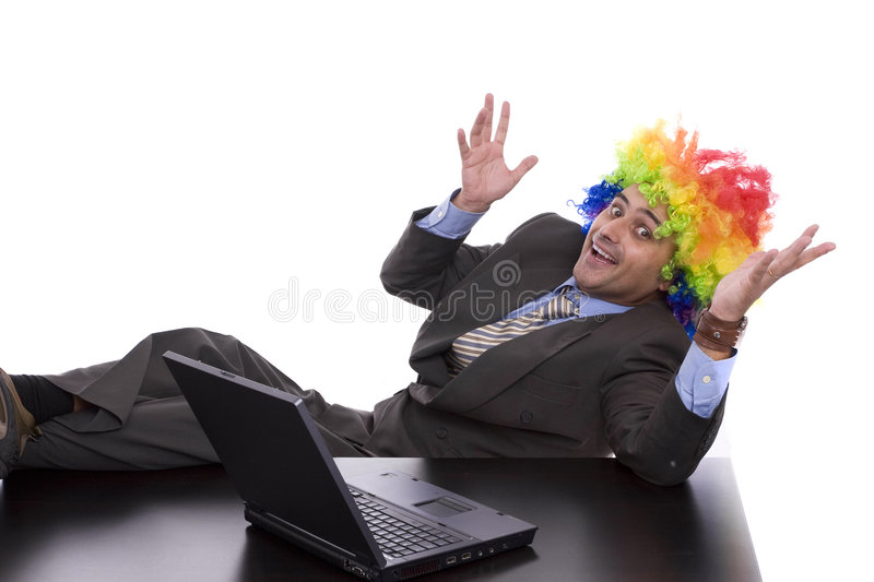 Business man with clown hair royalty free stock photos