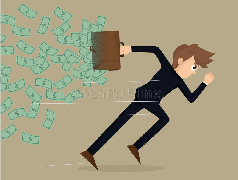 Business man competitive with business. Vector stock illustration