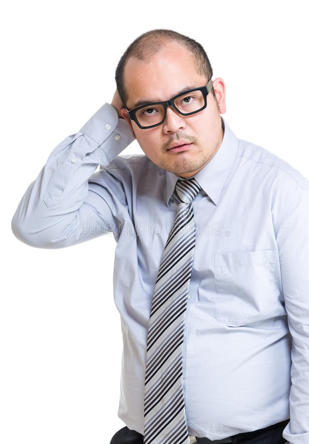Business man confuse. Isolated on white royalty free stock image