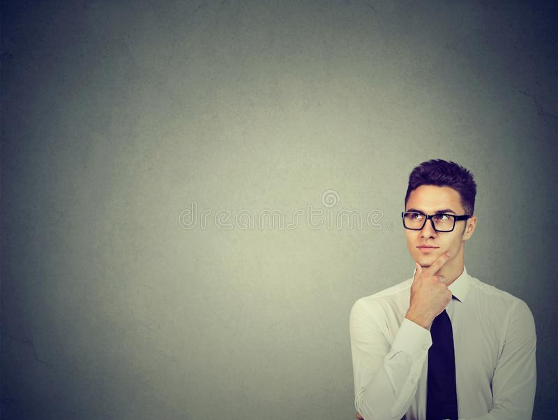 Business man contemplating on idea royalty free stock photos
