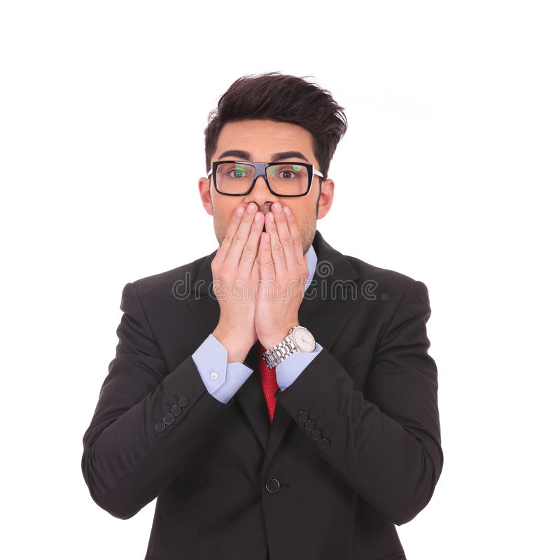 Business Man Covering Mouth Royalty Free Stock Image