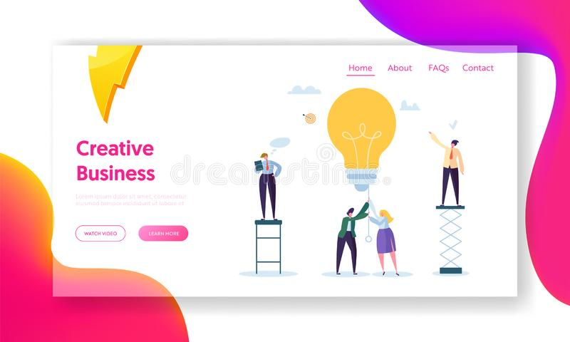 Business Man Creative Idea Landing Page. Teamwork Solution for Growth Success. Woman Character Power up Lightbulb stock illustration