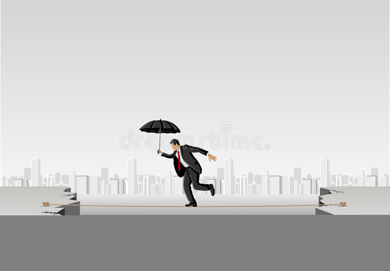 Business man crossing abyss. On a high tightrope holding umbrella stock illustration