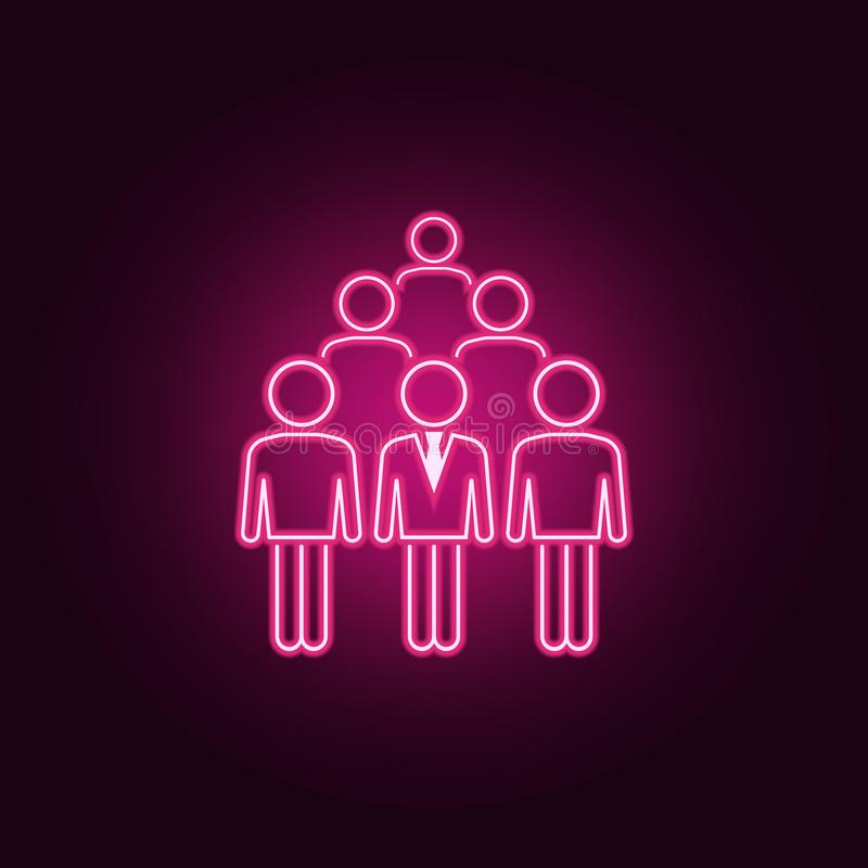 Business man in crowd neon icon. Elements of People set. Simple icon for websites, web design, mobile app, info graphics. On dark gradient background royalty free illustration