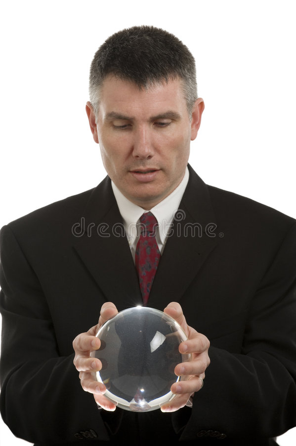 Business Man With Crystal Ball stock photos