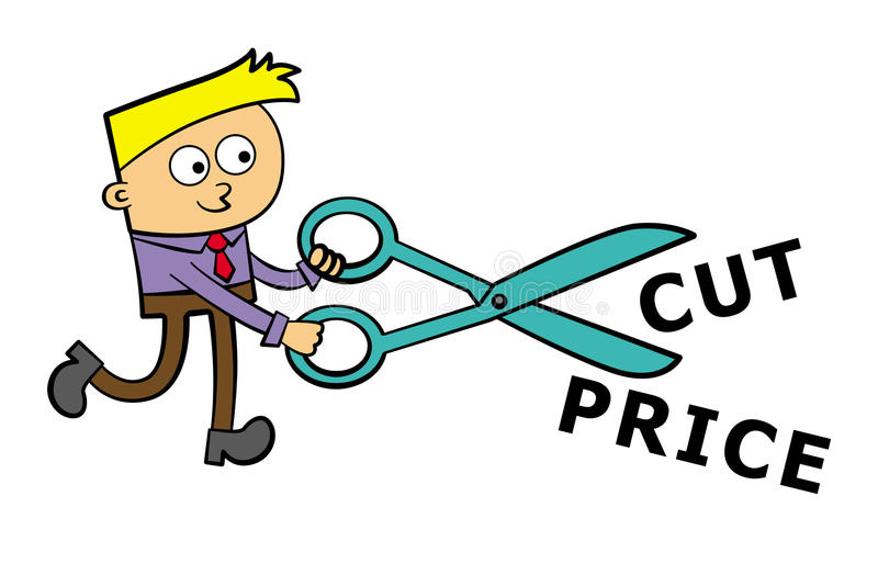 Download A Business Man Cuts With Scissors Stock Illustration - Illustration of bill, shopping: 26491031