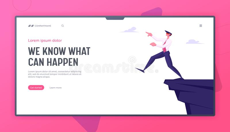 Business Man in Dangerous Situation Website Landing Page. Foolish Businessman Take Step Blindfolded on Edge of Abyss. Crisis Management, Bankruptcy Web Page vector illustration