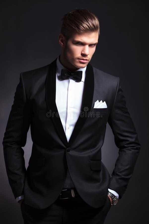 Business man on dark background royalty free stock photos