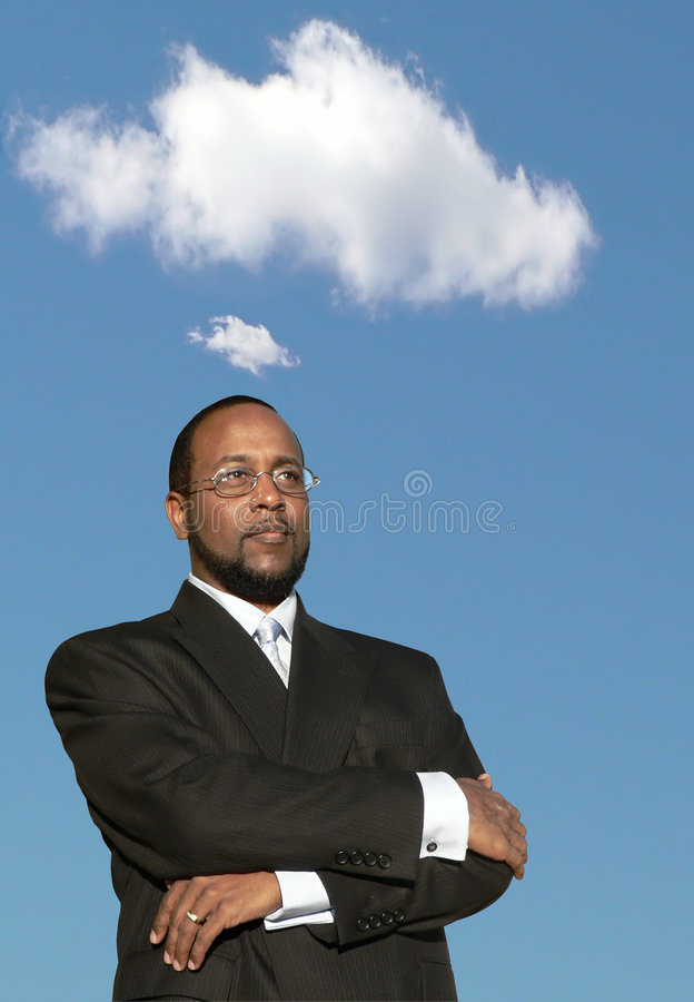 Business man in deep thought 2 royalty free stock photography