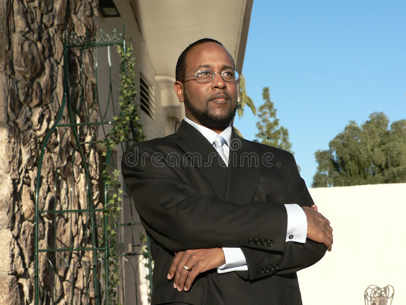 Business man in deep thought royalty free stock images