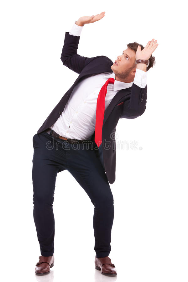 Business man defends himself royalty free stock images