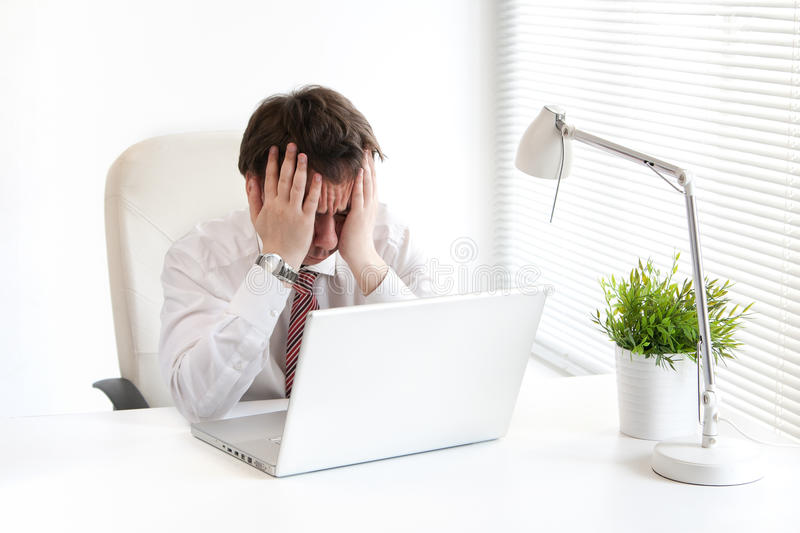 Business man in depression royalty free stock images