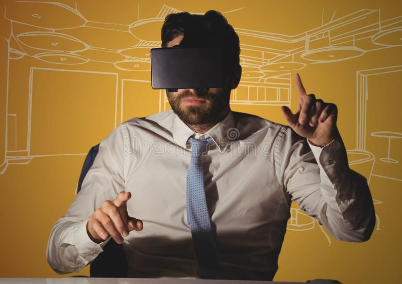 Business man at desk in virtual reality headset against orange and white hand drawn office stock illustration