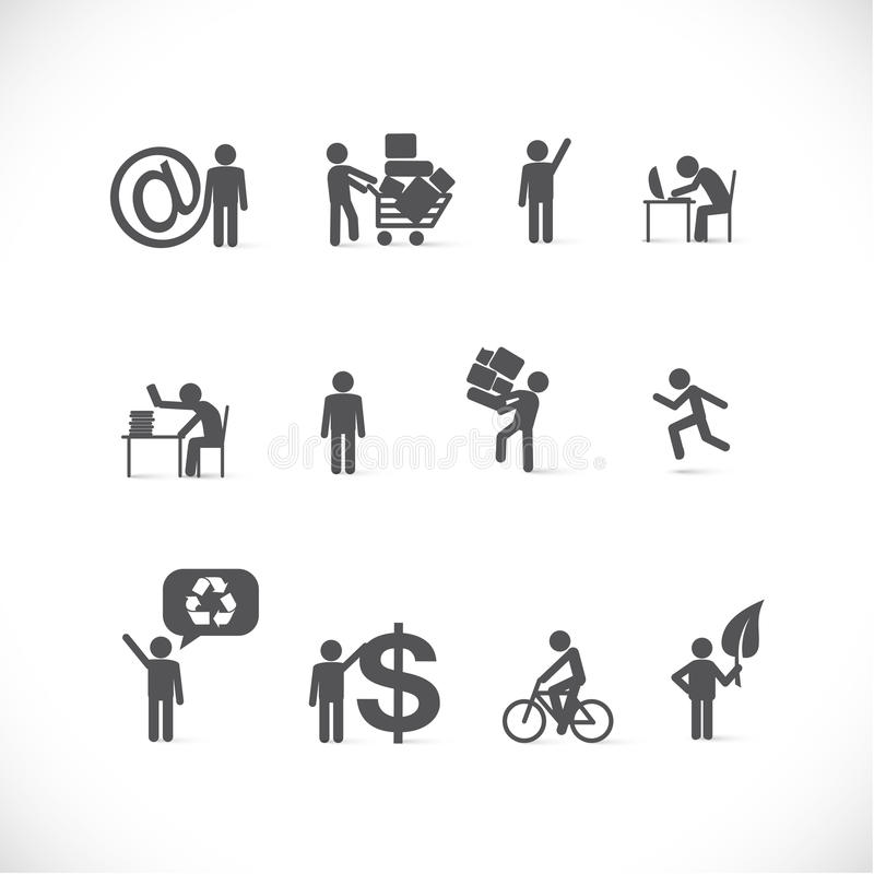 Business man in different situations stock illustration