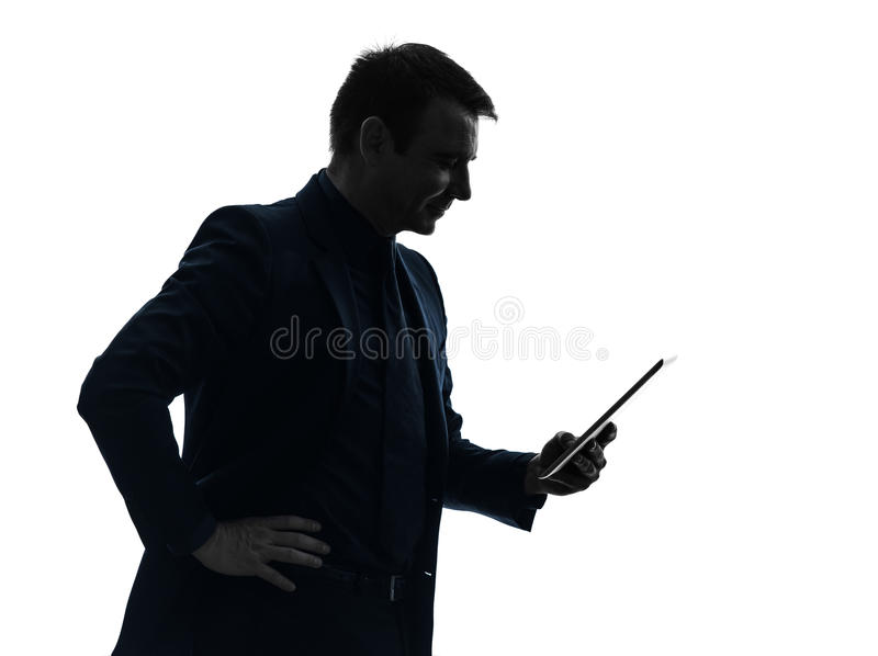 Business man digital tablet smiling silhouette royalty free stock photo