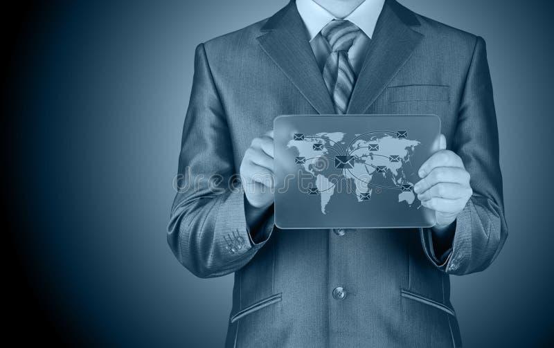 Business man distribute digital mail stock image