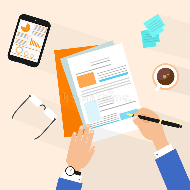 Business man document signing up contract. Agreement, Businessman workplace top angle above view sitting at office desk work vector illustration vector illustration
