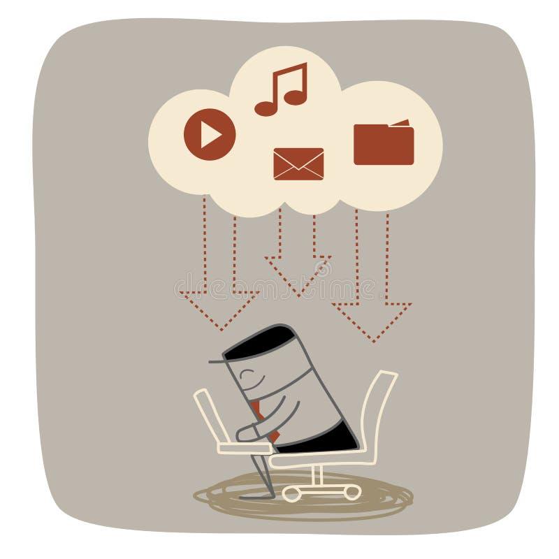 Business man download media cloud system. Business man download media mail music movie from cloud storage system stock illustration