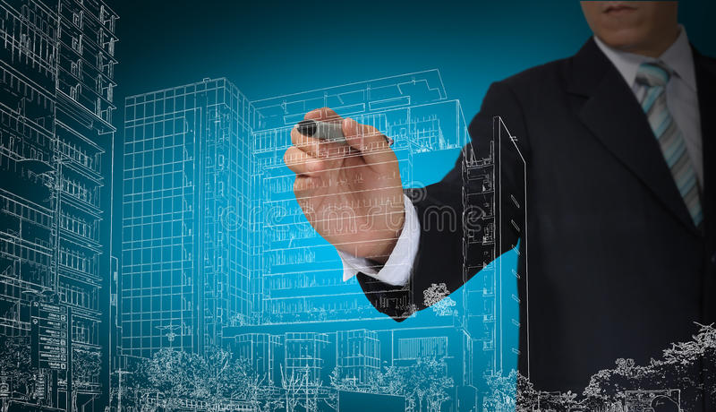 Business Man draw building and cityscape. Business Man or architect draw building and cityscape royalty free stock photo